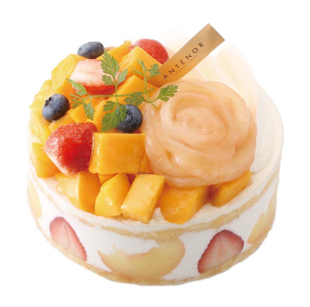 マンゴーと白桃のデコレーション5寸
