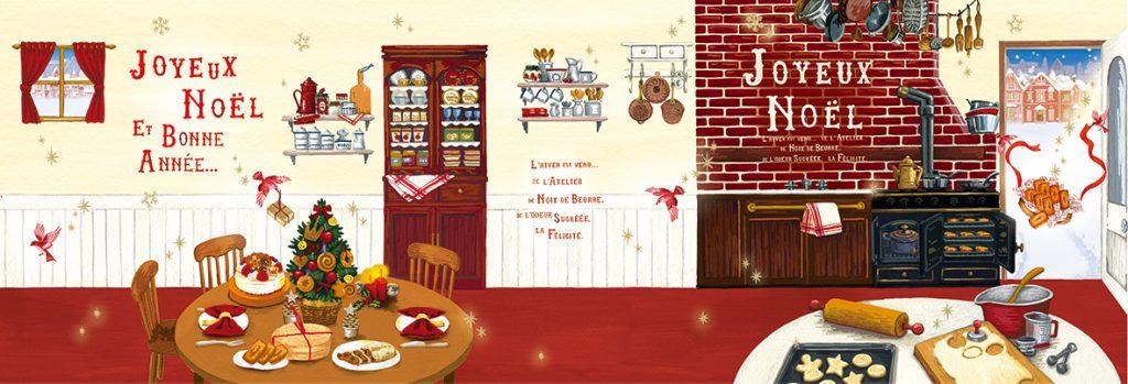 美味しそうな香りに誘われて…。クリスマスのホームパーティーを準備中のキッチンへ、舞い降りた小鳥たち。(2018年)
