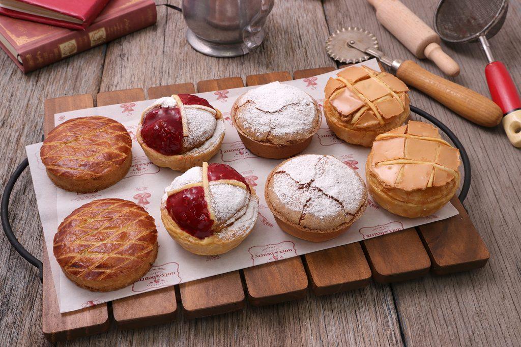 『フランス伝統菓子を愉しむ』シリーズ 左から「ガトー・バスク」」「ポンヌフ」「ミルリトン」「コンベルサシオン」